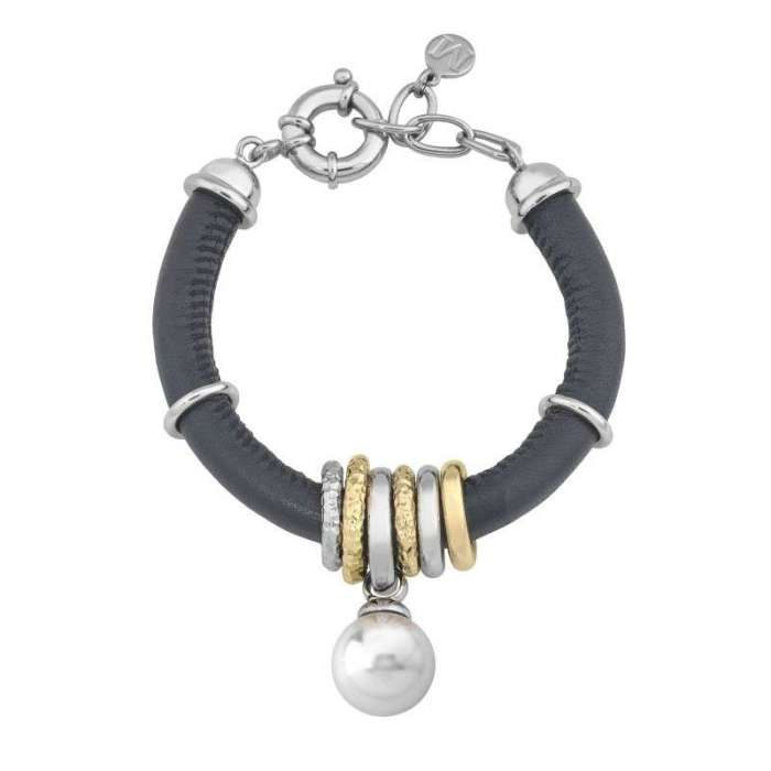 Formentera leather bracelet with Majorica pearls