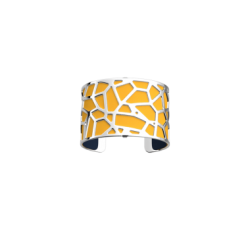 Bracelet Giraffe by Les Georgettes with yellow leather. Silver finish
