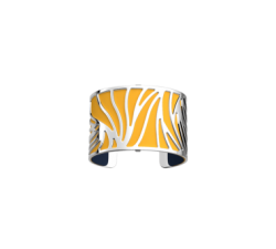 Brazalete Perroquet by Les Georgettes with yellow leather. Silver finish