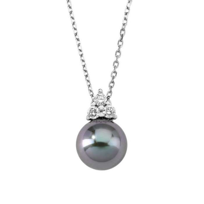 Ceres Pendant with gray Majorica pearl. Details
