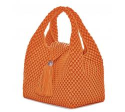 Bolso de cuero de napa de Tissa Fontaneda Simple Matter Tassle color Orange. Perspectiva
