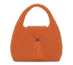 Bolso de cuero de napa de Tissa Fontaneda Simple Matter Tassle color Orange