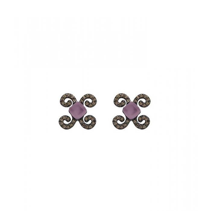 Earrings Bohemme Color. Brown zircons
