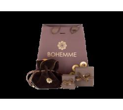 Earrings Bohemme Color. brown zircons 2