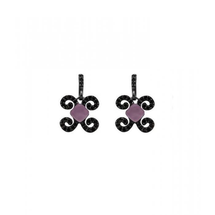 Earrings Bohemme Color. Black zircons 2