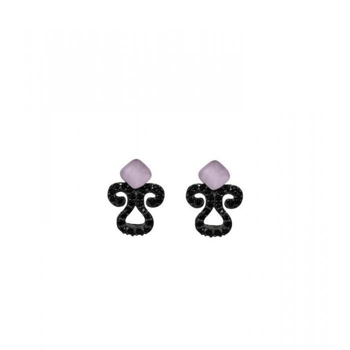 Earrings Bohemme Color. Black zircons 3