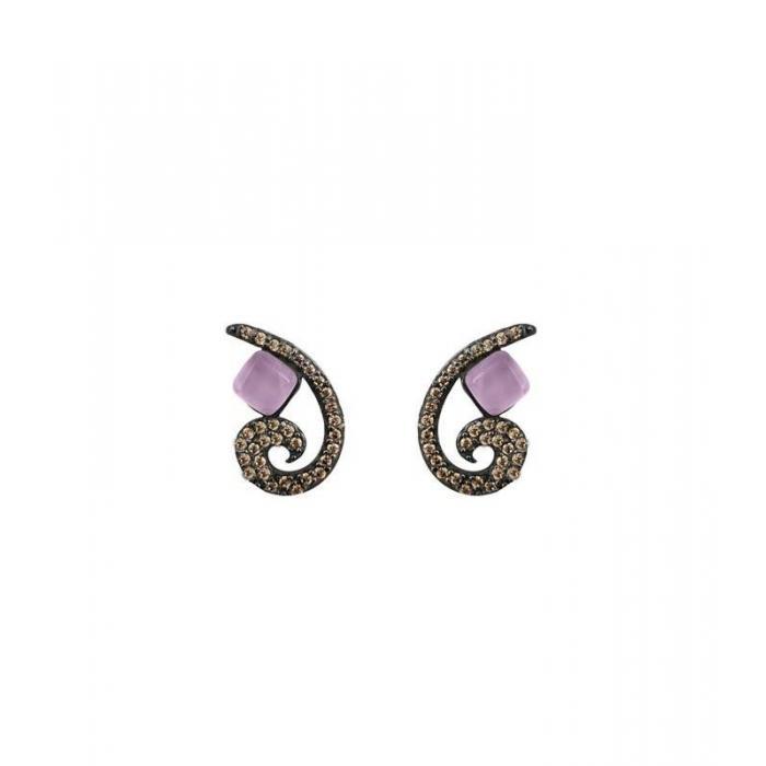 Earrings Bohemme Color. Brown zircons 4