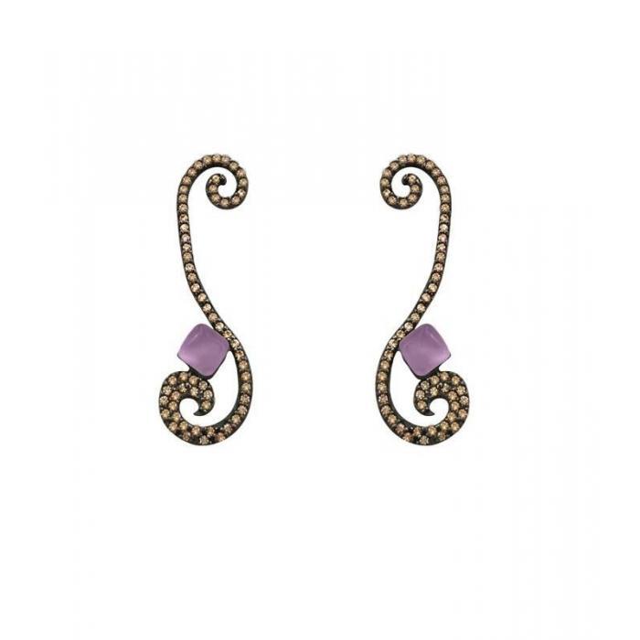 Long earrings Bohemme Color. Brown zircons