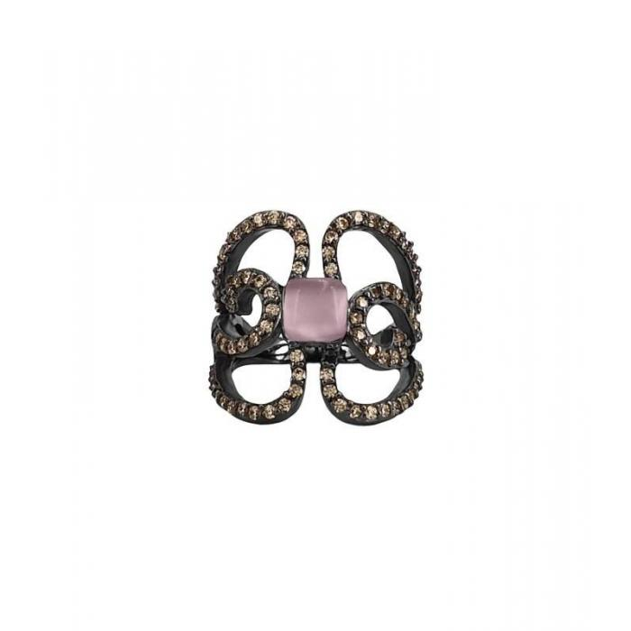Ring Bohemme Color. Brown zircons Butterfly