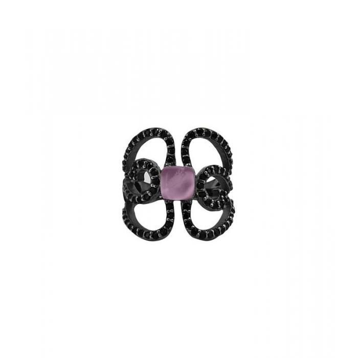 Anillo Bohemme Color . Circonitas negras Mariposa