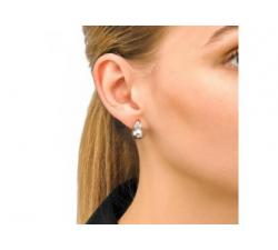 Girl with the Majorica earrings Ceres gray color pearl
