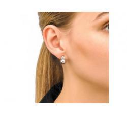 Chica con los Pendientes de perla y circonitas Ceres_perla gris