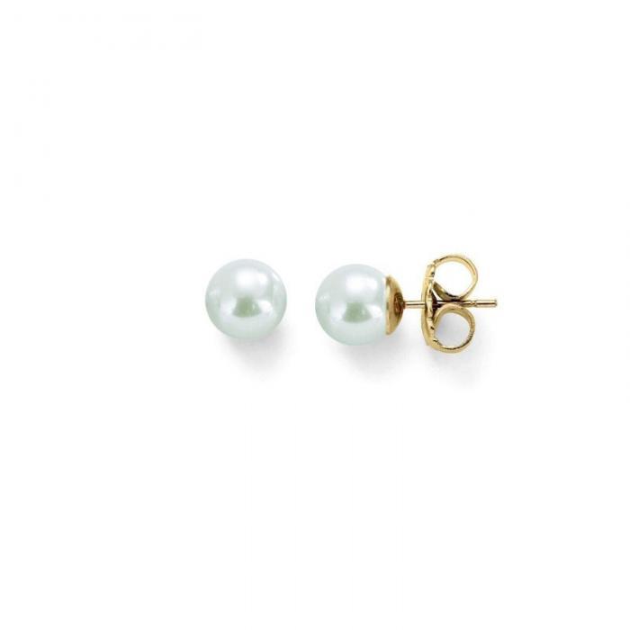 Pendientes Lyra Perla Blanca Oro