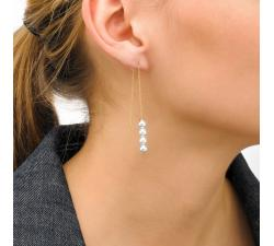 Girl with the Majorica pearl long earrings Mikonos_golden silver