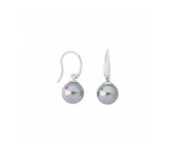 Pendientes de plata_perla gris_Medium