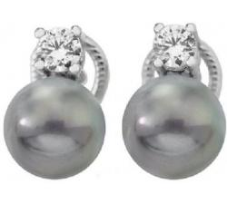Pendientes de plata con perla Majorica Diva_perla gris