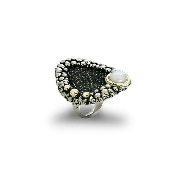 Silver pearl ring Tesoro Marino by Bohemme