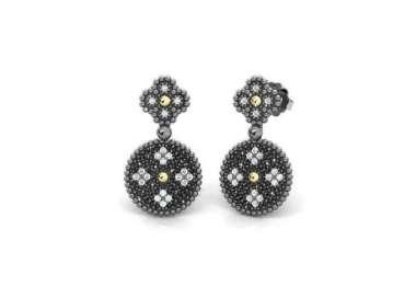 Silver Earrings Princess Tale. Black