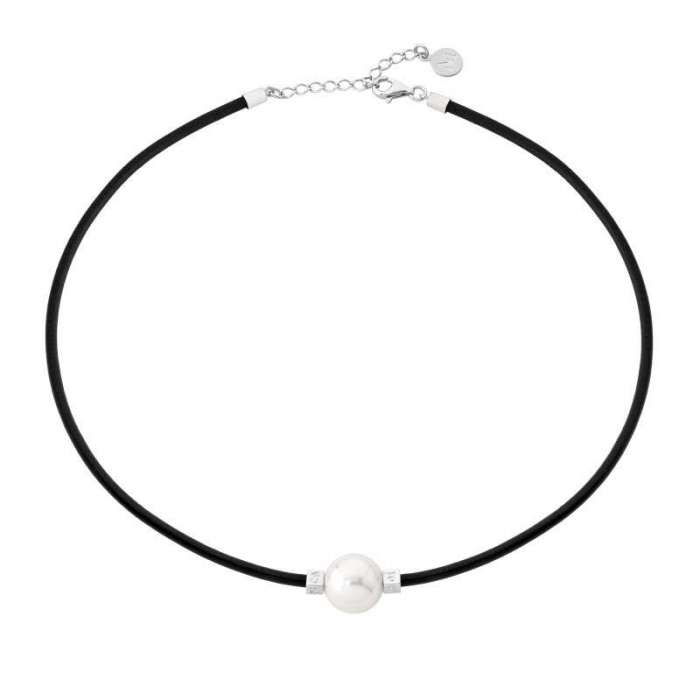 Leather choker with Majorica pearl Tilos