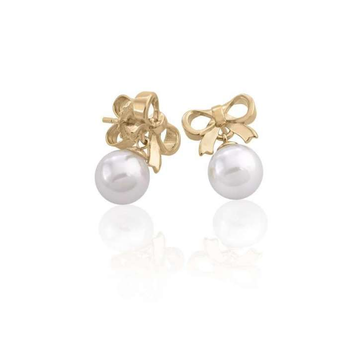 Gold silver earrings with Majorica pearl